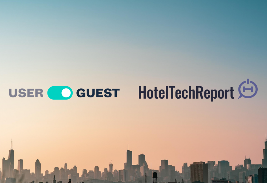Userguest logo and Hotel Tech Report logo